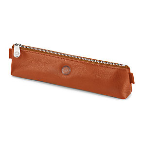 Red Tanned Leather Pencil Case