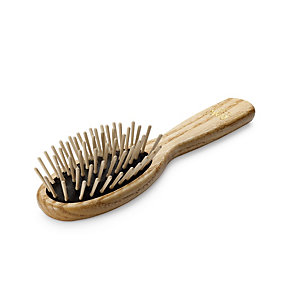 Small Oval Ash-Wood Hairbrush <br />with Maple Wood Pins