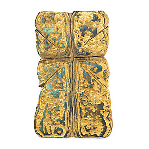 Wall Crucifix Made of Gilded Damascus Steel