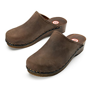 Berkemann Nubuck Clogs, Dark Brown