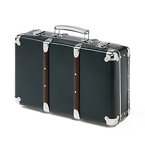 Black Cardboard Suitcases with Wooden Slats, Black