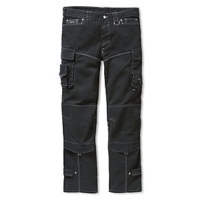 Cotton Canvas Pleated Work Trousers Black