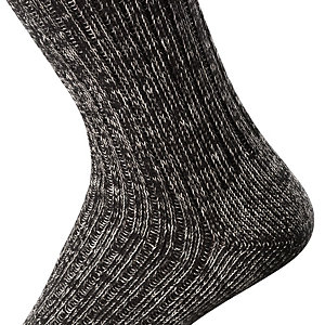Cotton and Linen Long Life Socks, Black-and-white melange