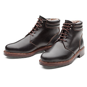 Dinkelacker Laced Boots Lined with Lambskin, Black