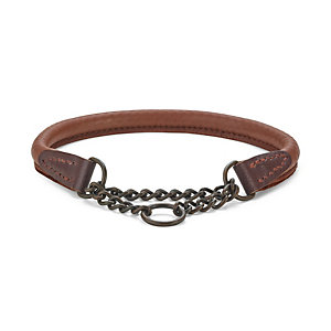 Elk leather dog collar, Neck size up to 55 cm