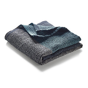 Face Towel with Block Stripes Anthracite-Blue