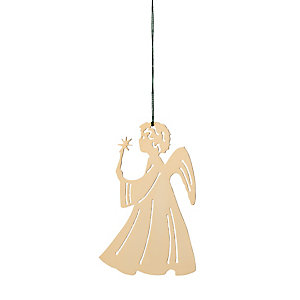 Gold-Plated Brass Pendant, Angel with Candle