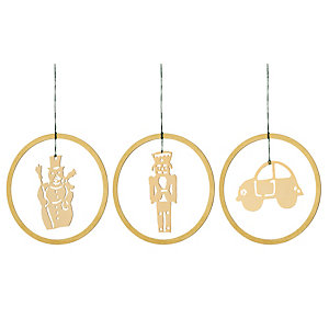Gold-Plated Brass Pendant 3 motifs in a set: snowman, automobile, nutcracker