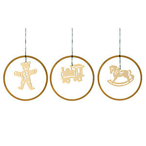Gold-Plated Brass Pendant Historical toy motifs in a set: rocking horse, locomotive and teddy bear