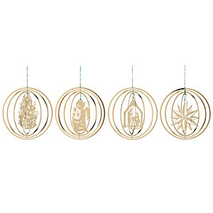 Gold-Plated Brass Rings with Christmas motifs (4 Items)