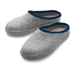 Haunold® Gentlemen's Felt Slippers, Light grey mix