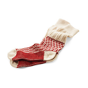 Jacquard Long Socks, Ecru/Red