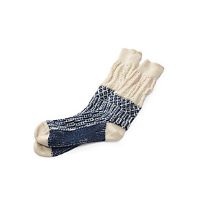 Jacquard Long Socks, Ecru/Blue