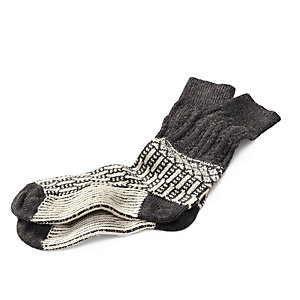 Jacquard Long Socks, Anthracite/Ecru