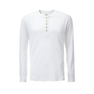 Knowledge Cotton Apparel Henley Shirt, White