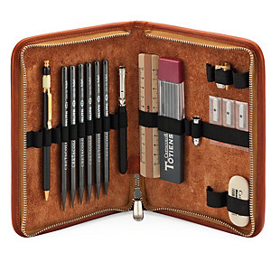 Leather Pen Attache With Contents, Nature