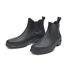 Men's Mixed Natural Rubber Ankle Boots Black