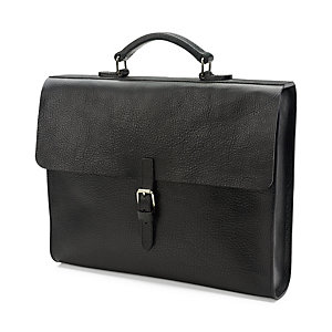 Notebook Briefcase Cowhide Leather Black