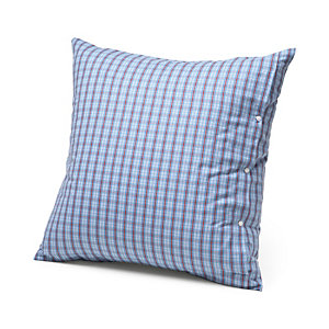 Pillow Case Made of Flannel in Hochficht Check Pattern Blue 80 × 80 cm