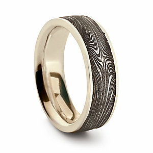 Ring Made of Electrum and Damascus Steel