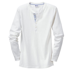 Schiesser Men's Fine Rib Long-Sleeved Undershirt White