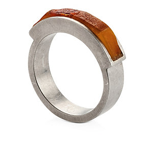 Silver Ring Mounted with Amber Size 16