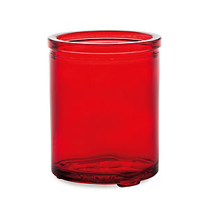 Tall glass tea light holder, red glass