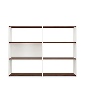 Walnut and Beechwood Folding Shelving 2 × 3 Compartments White