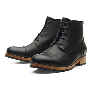 Zeha Ankle High Men's Shoes Made of Cow Leather, Black