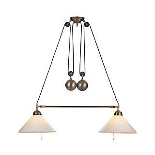 Adjustable Double Brass Hanging Pendant | Lighting