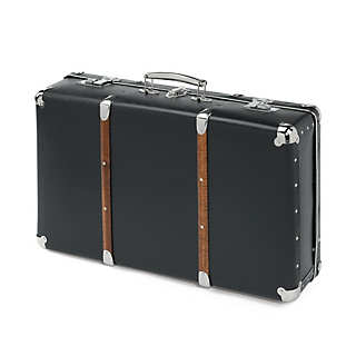 Black Cardboard Suitcases with Wooden Slats