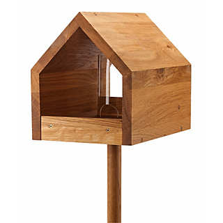 Oak Wood Bird Food Table with Stand