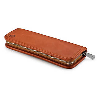 Red Leather Pen and Pencil Case