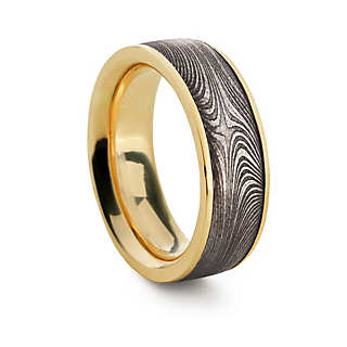 Ring Damaszener Stahl Gold | Herrenaccessoires