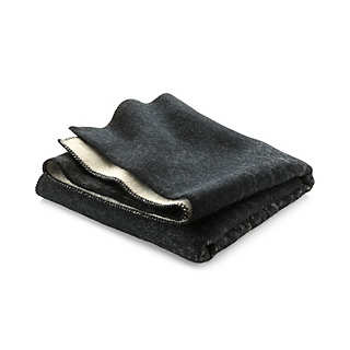 Røros Black and Natural-Colored Lambswool Blanket | New Products