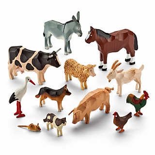 Set of Farmyard Ring-Turned Animals | Home Accessories