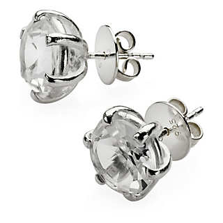 Silver Ear Studs with Quartz