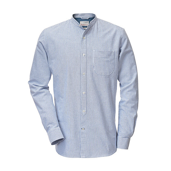 Knowledge Cotton Apparel Stand-Up Collar Shirt Made of Cotton Blue-White_01