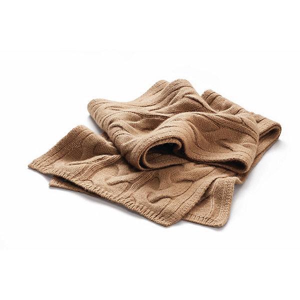 Blue Sky Cashmere Camel Hair Scarf with Cable Stitch_01