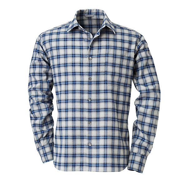 Men's Flannel Shirt with Checked Pattern_01