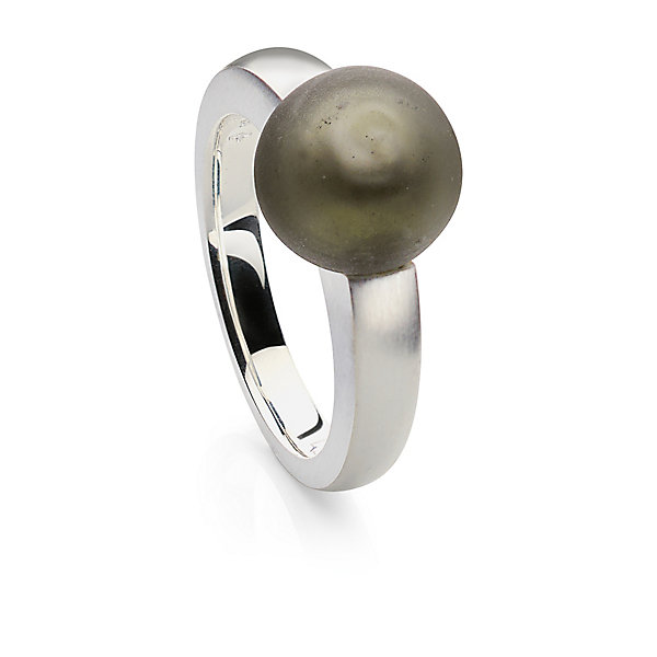 Murano Glass Silver Ring with Matt Grey Glass Bead_01