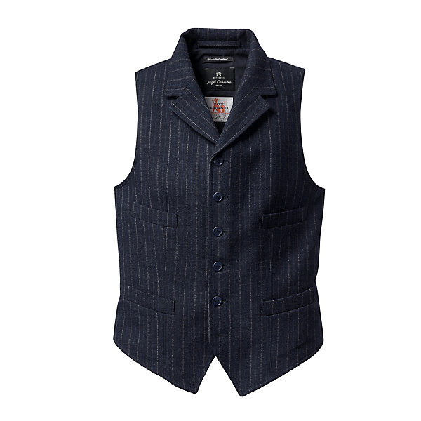 Nigel Cabourn Pinstripe Raw Flannel Men's Vest_01
