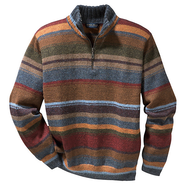 Men's Striped Alpaca Sweater with Troyer Collar_01