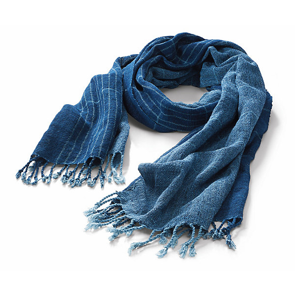 Indigo People Striped Cotton Scarf