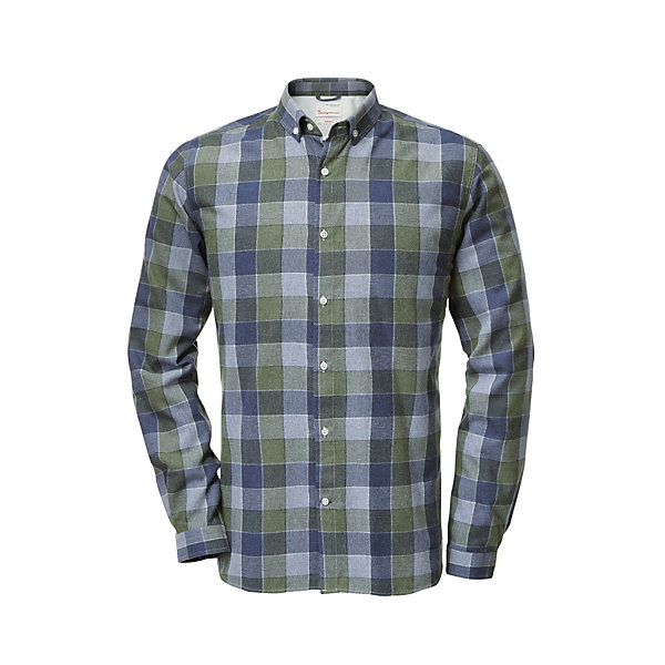 Knowledge Cotton Apparel Flanellhemd Karo Blau