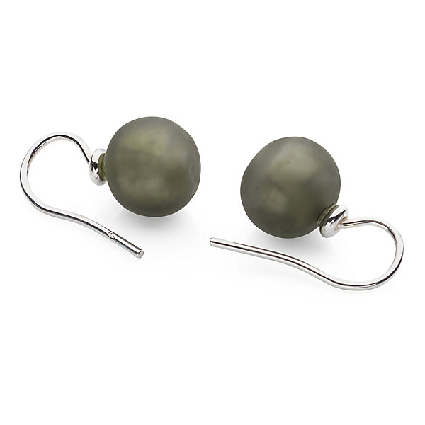 Murano Glass Earrings with Matt Grey Glass Beads