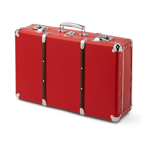 Red Cardboard Suitcase with Wooden Slats