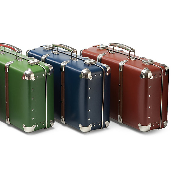 Set of Cardboard Suitcases with Wooden Slats