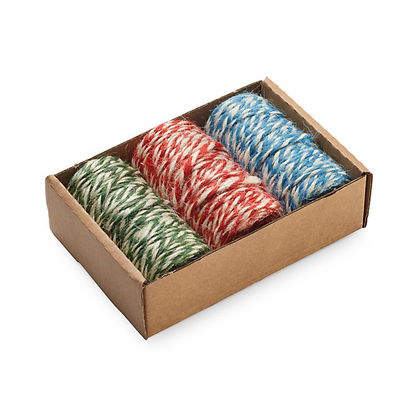 Set of Three Bobbins with Two-Coloured Jute Yarn