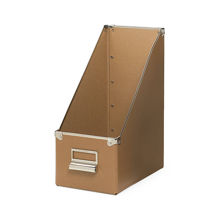 15 cm Metal Reinforced Magazine File Box Brown